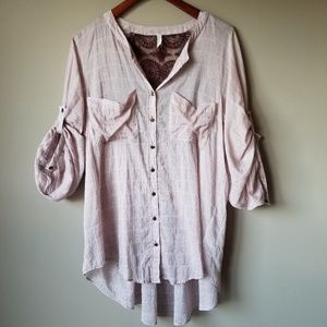 Free People   Tunic Blouse with lace panel back